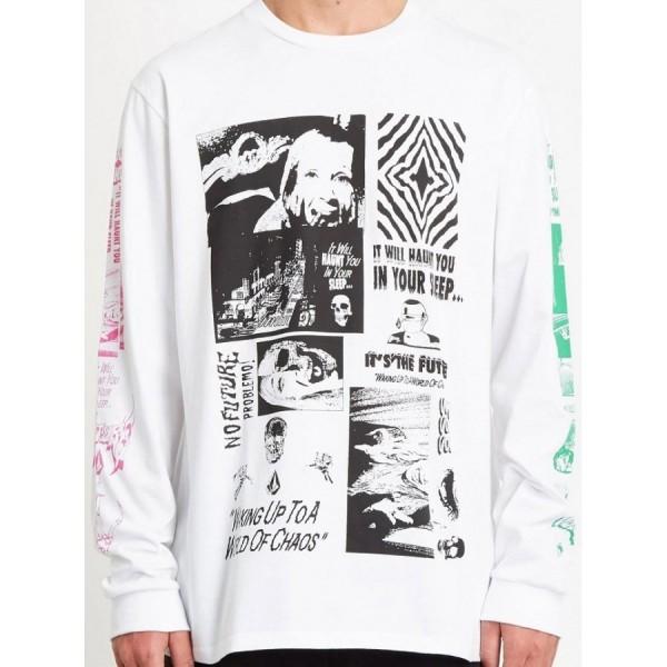 Volcom Bits of brain white 2021 camiseta de manga larga