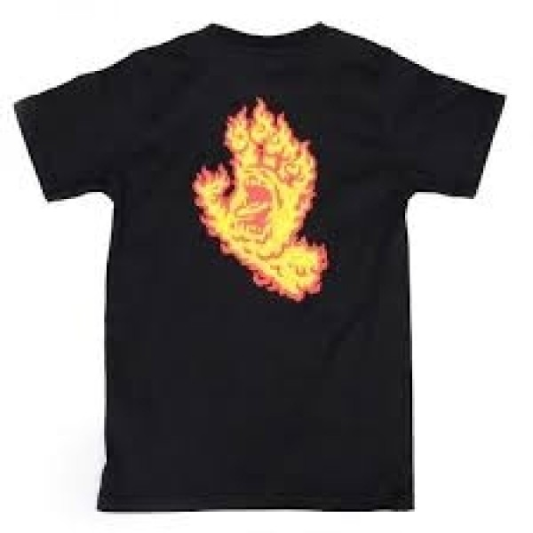 Santa Cruz Flame hand black 2021 camiseta de niño