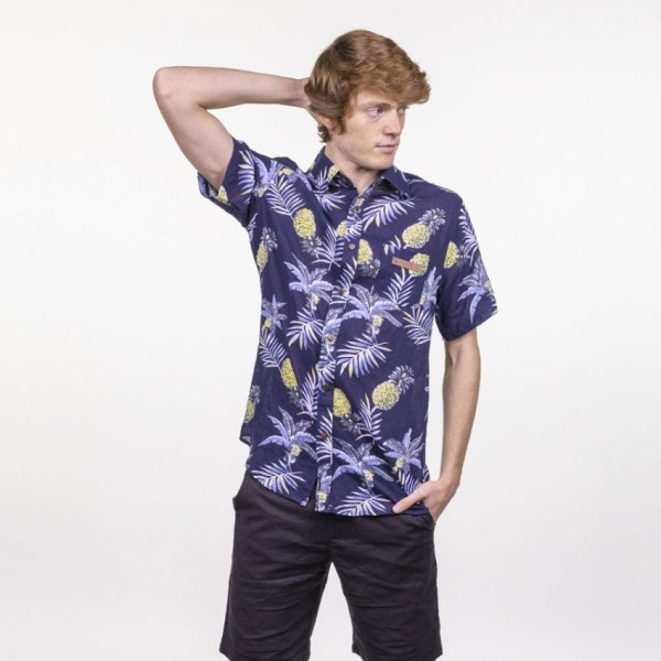 Hydroponic Makahiki navy tropical 2021 camisa