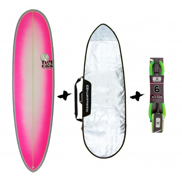 Full & Cas Cyclone 6'4'' + funda + Leash Pack de surf