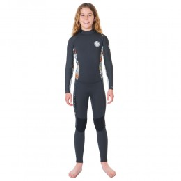 Rip Curl Dawn Patrol 3/2 Gb back zip charcoal grey Traje de neopreno de niña