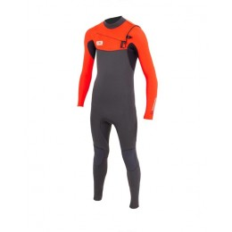 Ocean & Earth Free Flex 4/3mm back zip orange charcoal traje de neopreno de niño