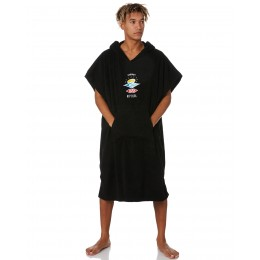 Rip Curl Wet us hooded towel washed black poncho