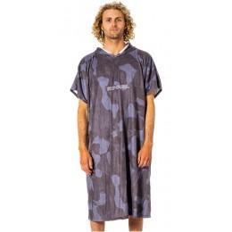 Rip Curl Mix up print hooded towel slate blue poncho