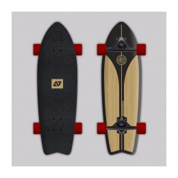 Hydroponic Surfskate classic black + wood Surfskate completo