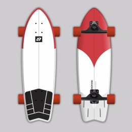 Hydroponic Surfskate surf white + red Surfskate completo