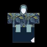 Madness Plush blue leaf poncho de niño / mujer