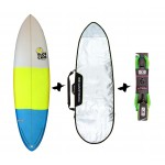 Full & Cas Hecke 6'6'' + funda + Leash Pack de surf