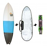Full & Cas Pand Fish 6'6'' + funda + Leash Pack de surf