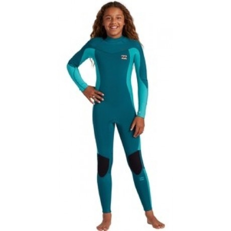 Billabong Teen Synergy Back Zip 3/2mm emerald traje de neopreno de niña
