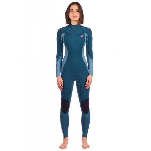Billabong Synergy Back Zip 3/2mm blue seas traje de neopreno de mujer