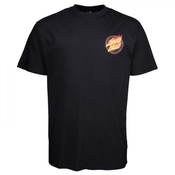 Santa Cruz Flaming japanese dot black 2021 camiseta